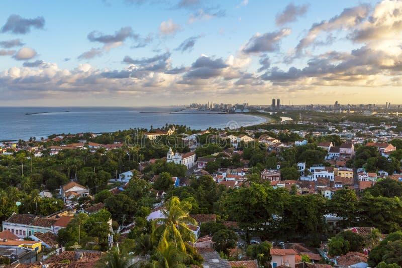 Olinda. Aerial view of Olinda in Pernambuco, Brazil o a sunny summer day stock photography