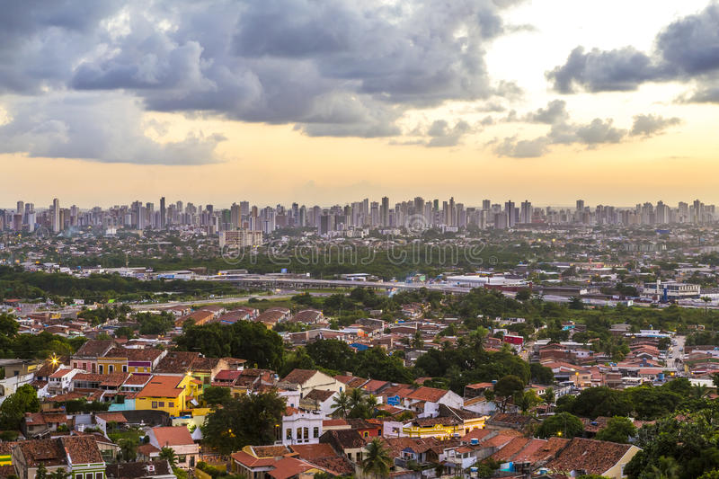 Olinda. Aerial view of Olinda in Pernambuco, Brazil o a sunny summer day and the city of Recife on the far background stock photos