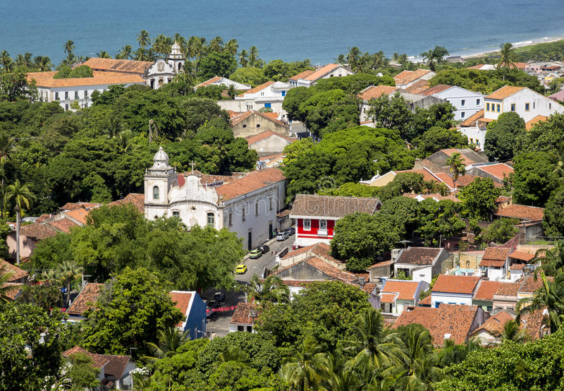 Olinda. Aerial view of Olinda in Pernambuco, Brazil on a sunny summer day royalty free stock images