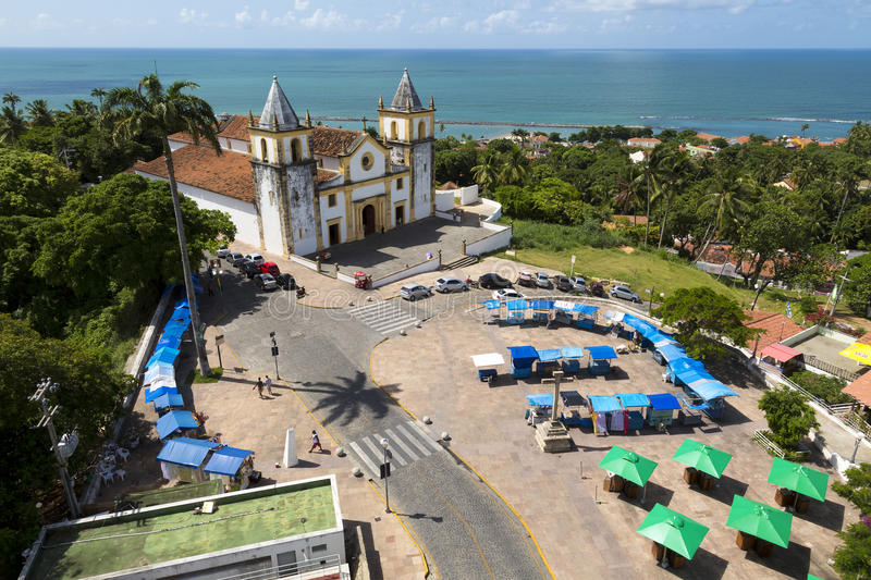 Olinda. Aerial view of Olinda in Pernambuco, Brazil on a sunny summer day showcasing the historic architecture of Se church stock photos