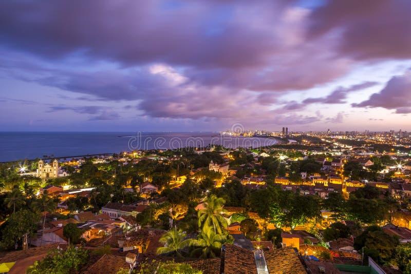 Olinda. Aerial view of Olinda in Pernambuco, Brazil at sunset royalty free stock photos