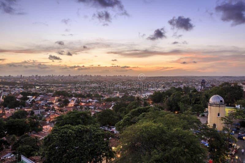 Olinda. Aerial view of Olinda in Pernambuco, Brazil at sunset stock photo