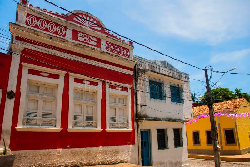 Olinda, Brazil: Cobbled street in historic Brazilian city Olinda with colonial architecture houses. Olinda, Pernambuco, Brazil: Cobbled street in historic stock photo
