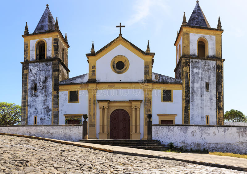 Olinda. The historic architecture of Olinda in Pernambuco, Brazil with its buildings dated from the 17th century and cobblestone streets royalty free stock images