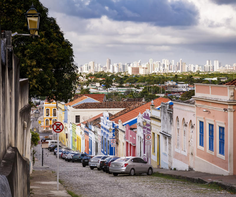 Olinda. The historic city of Olinda in Pernambuco, Brazil with its 17th century buildings and cobblestone streets contrasting with the contemporary skyscrapers royalty free stock photos