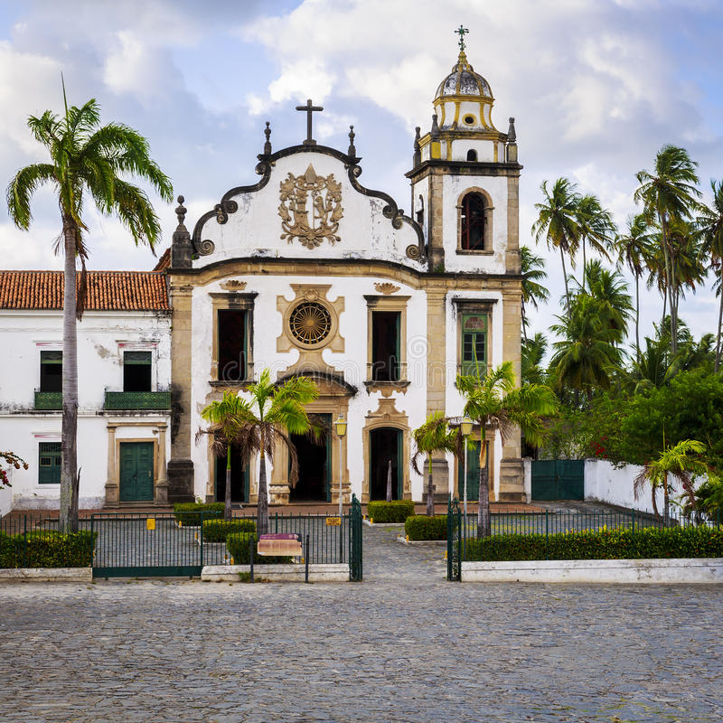 Olinda. The historic city of Olinda in Pernambuco, Brazil with its 17th century buildings and cobblestone streets contrasting with the contemporary skyscrapers stock photography