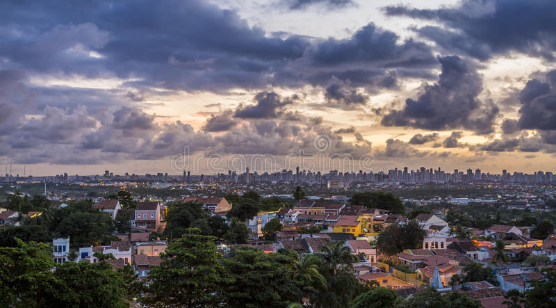 OLinda. Panoramic view of Olinda in Pernambuco, Brazil at sunset with the city of Recife in the Background and a dramatic sky stock photos