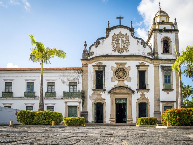 Olinda in Pernambuco, Brazil. The architecture of the colonial city of Olinda in Pernambuco, Brazil at sunset with its cobble stone streets and 17th century stock image