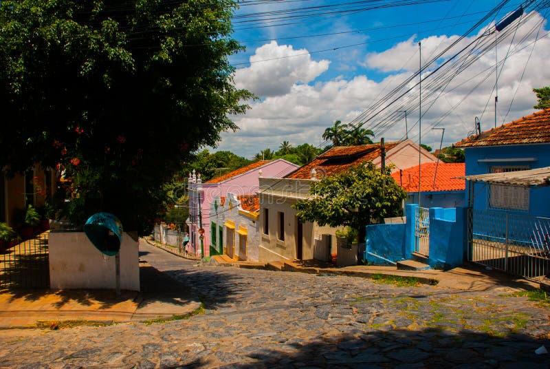 Olinda, Pernambuco, Brazil: Colorful colonial houses at Olinda on Brazil. Olinda, Pernambuco, Brazil, South America: Colorful colonial houses at Olinda on Brazil stock image