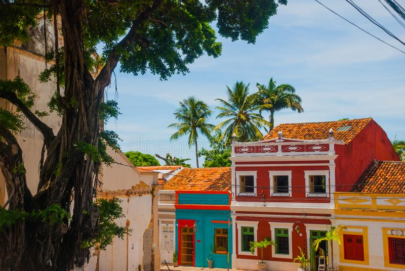 Olinda, Pernambuco, Brazil: Colorful colonial houses at Olinda on Brazil. Olinda, Pernambuco, Brazil, South America: Colorful colonial houses at Olinda on Brazil stock photo