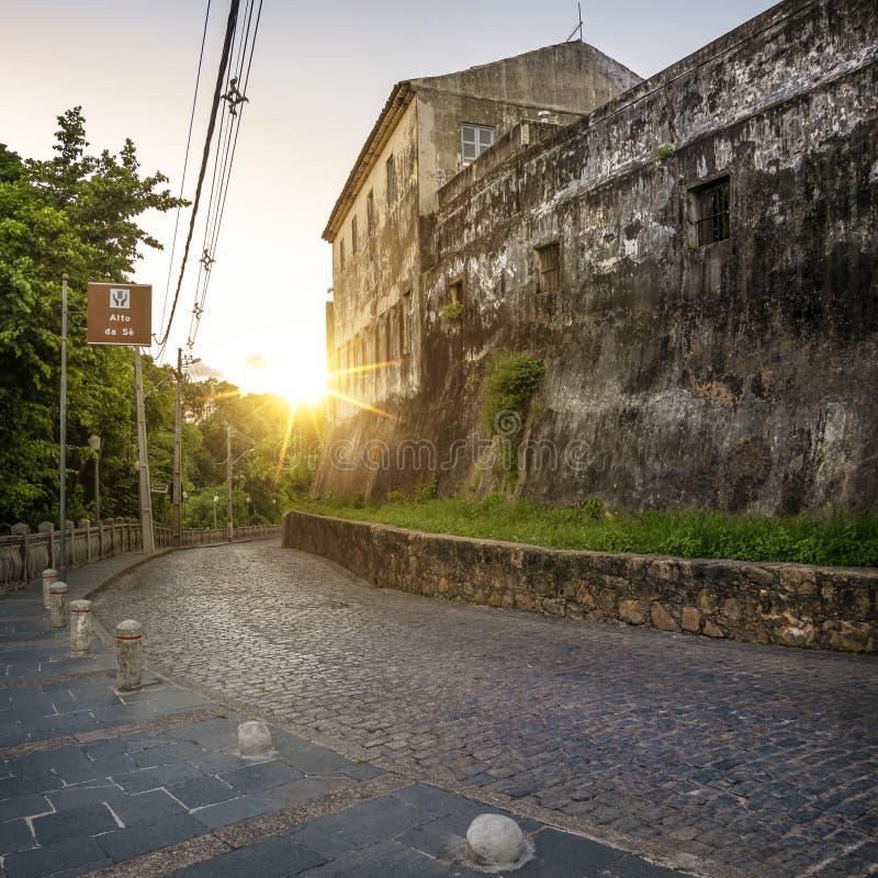 Olinda in Pernambuco, Brazil. The historic city of Olinda in Pernambuco, Brazil at sunset stock images