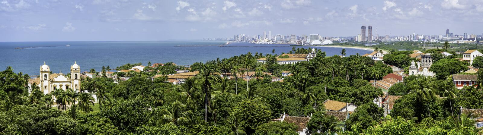 Olinda and Recife. Aerial view of Olinda and Recife in Pernambuco, Brazil on a sunny summer day stock photos