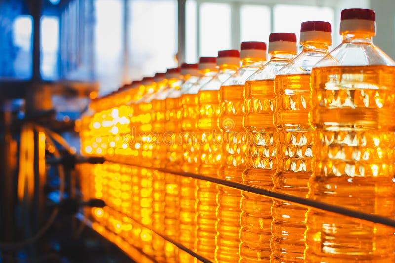 Olio in bottiglie Produzione industriale dell'olio di girasole trasportatore immagine stock
