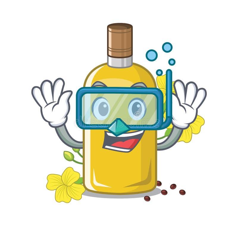 Olio d'immersione del canola nella forma della mascotte illustrazione vettoriale