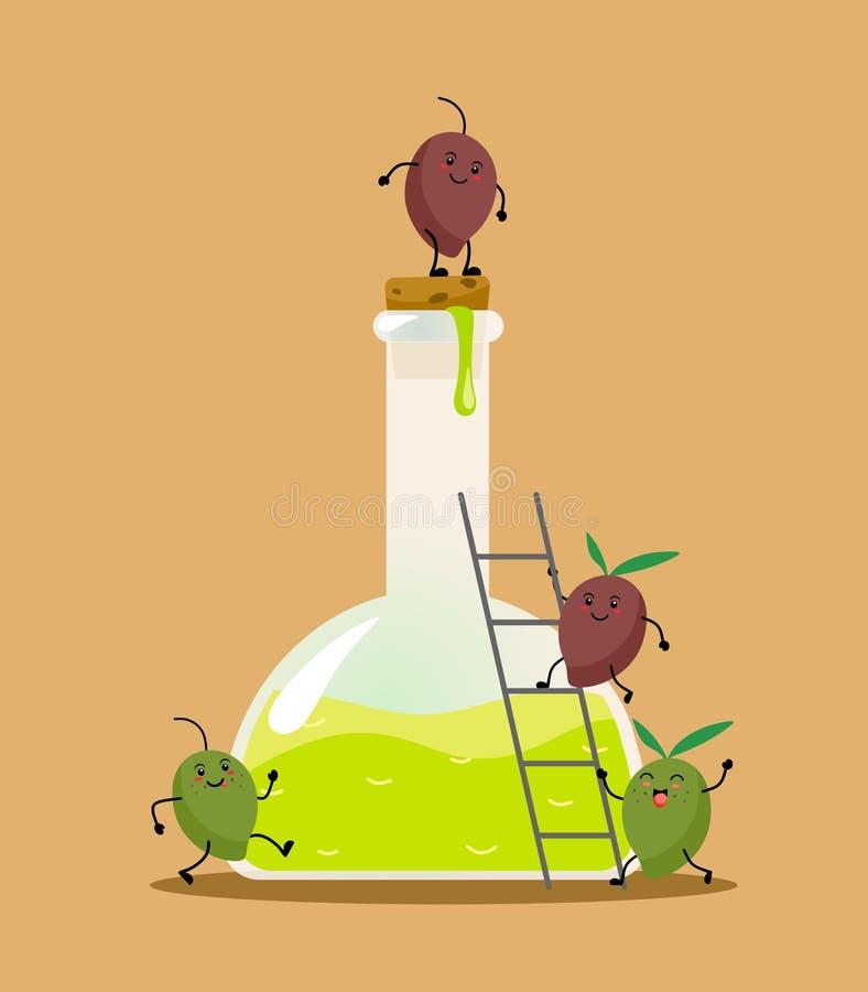 Olio d'oliva in una bottiglia delle olive di kawaii Illustrazione di vettore su un fondo sabbioso illustrazione di stock