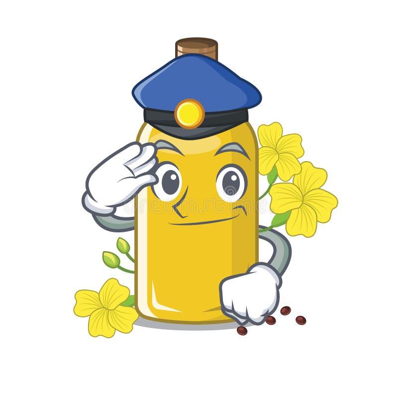 Olio del canola della polizia isolato con il fumetto illustrazione vettoriale