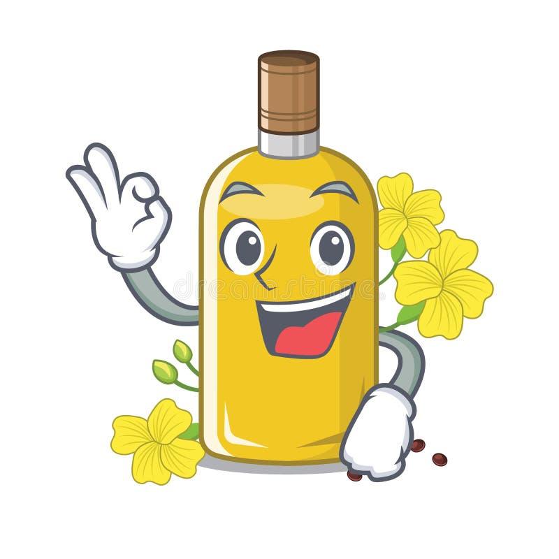 Olio del canola di approvazione nella forma della mascotte illustrazione di stock