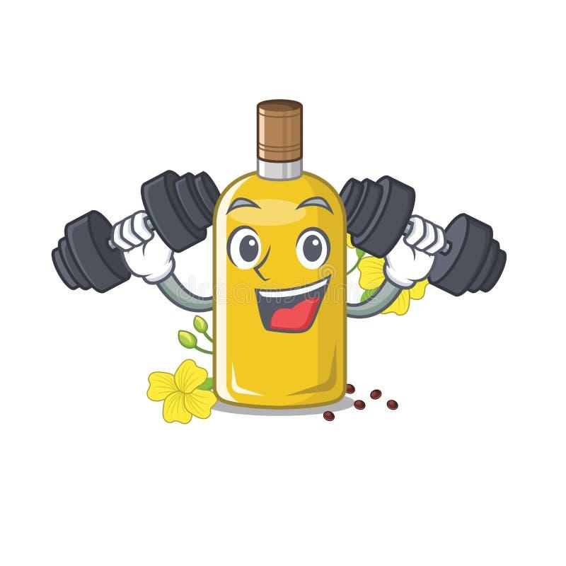 Olio del canola di forma fisica isolato con il fumetto illustrazione di stock