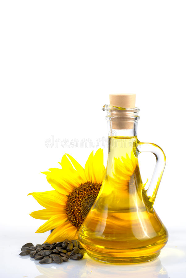 Olio del seme di girasole fotografie stock libere da diritti