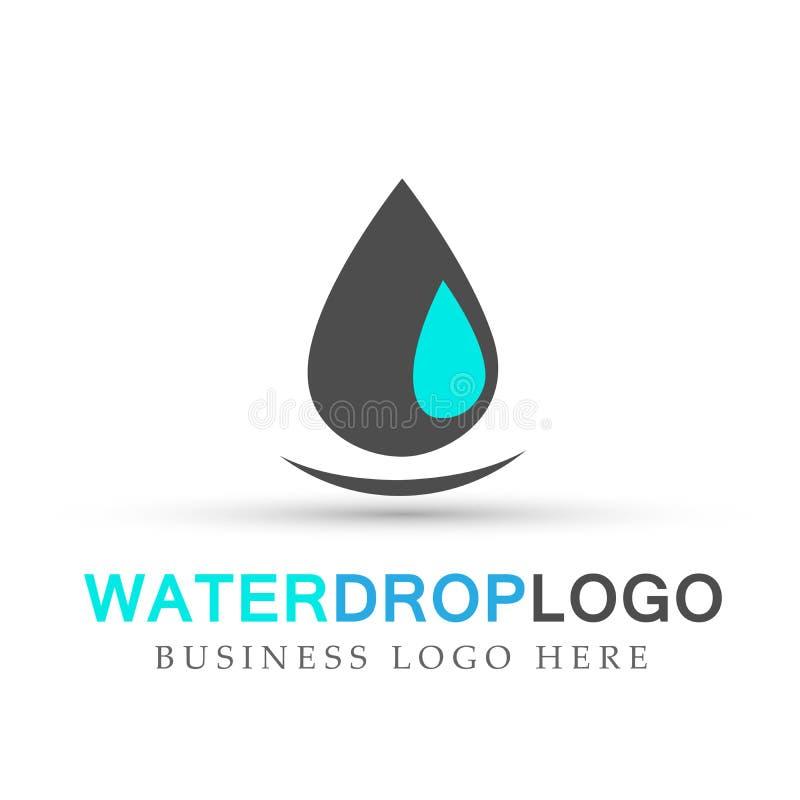 Olio della natura del giardino di cura della mano di logo della goccia di acqua sano e progettazione di simbolo dell'acqua su fon illustrazione vettoriale