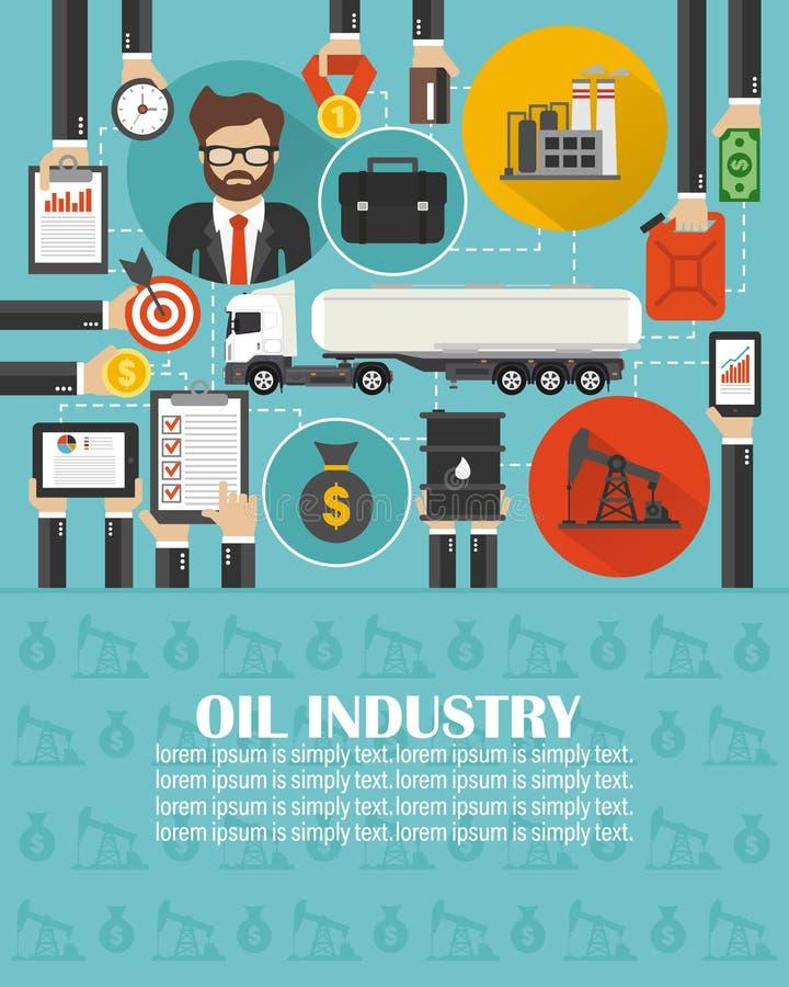 Olio di affari della gestione piano con l'automobile dell'autocisterna della benzina illustrazione vettoriale