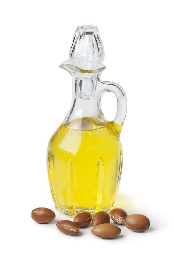 Olio di argan e dadi fotografie stock