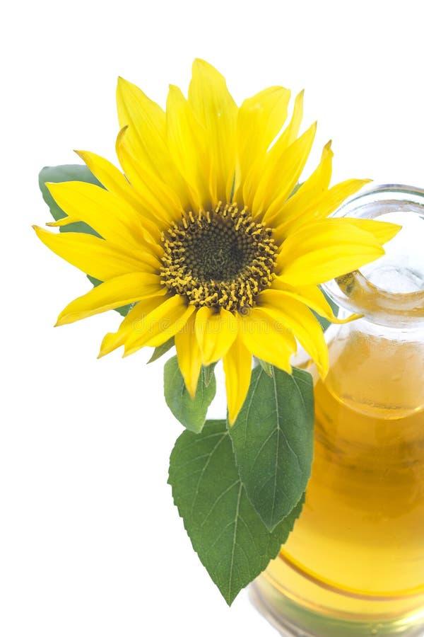 Olio di girasole della brocca con il fiore isolato fotografie stock libere da diritti