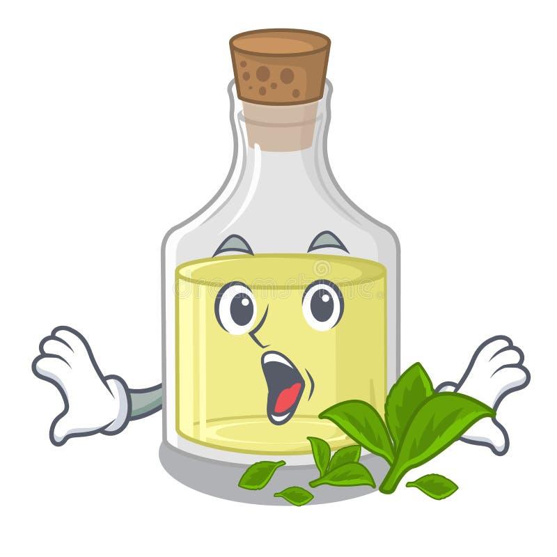 Olio di menta piperita sorpreso nelle bottiglie del carattere illustrazione vettoriale