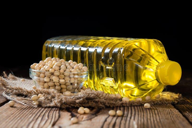 Olio dorato della soia fotografia stock