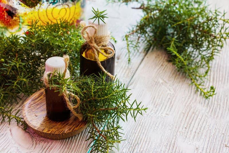 Olio essenziale del ginepro in una bottiglia di vetro su una tavola di legno fotografia stock libera da diritti