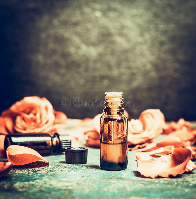 Olio essenziale delle rose in bottiglia su fondo d'annata rustico, vista superiore, posto per testo immagine stock