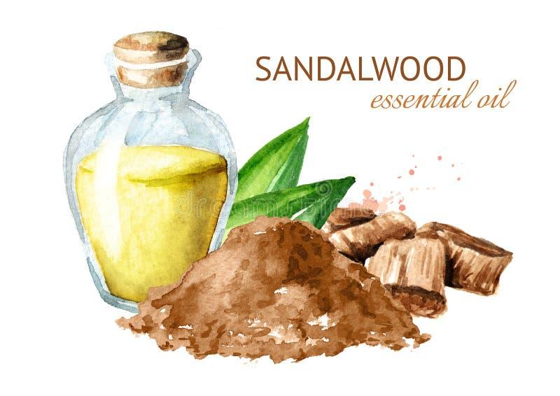 Olio essenziale di Chandan o dei sandali Illustrazione disegnata a mano dell'acquerello isolata su fondo bianco illustrazione vettoriale