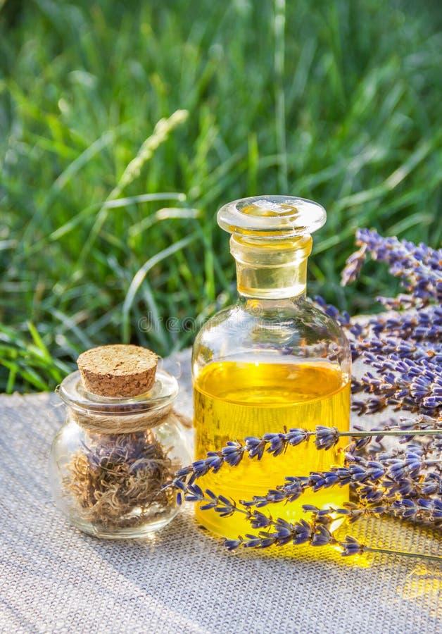 Olio essenziale di lavanda e delle erbe utili Imposti per i trattamenti della stazione termale immagini stock libere da diritti