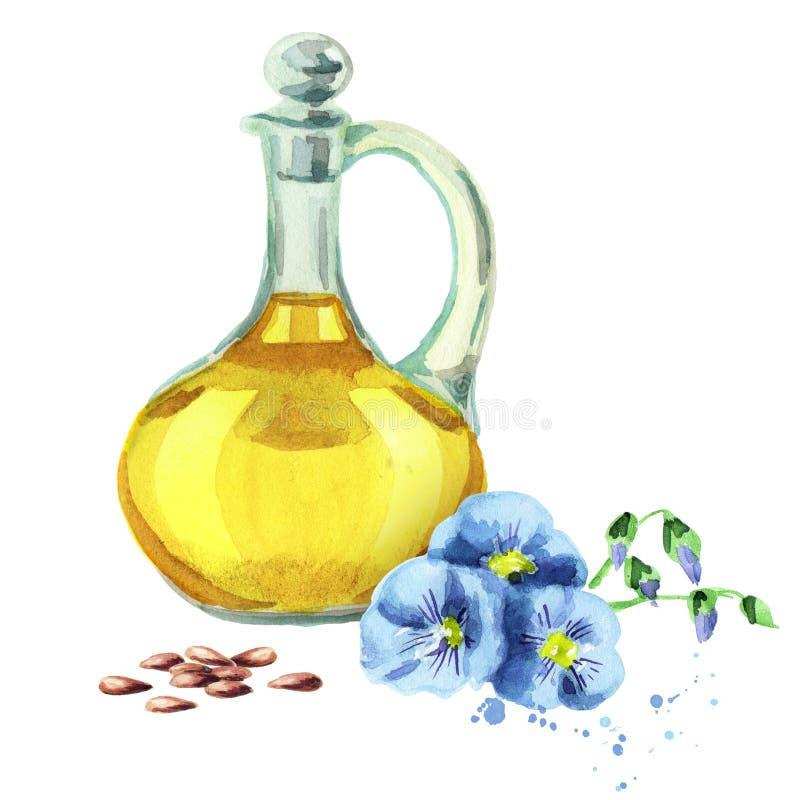 Olio naturale del lino illustrazione di stock