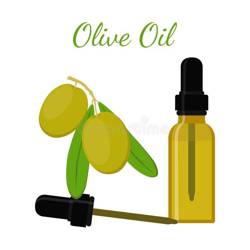 Olio naturale verde oliva Olio essenziale, cosmetici, stazione termale, aromaterapia illustrazione vettoriale