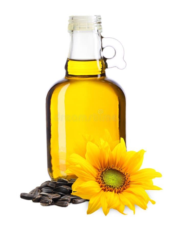 Olio, pianta e seme di girasole fotografie stock libere da diritti