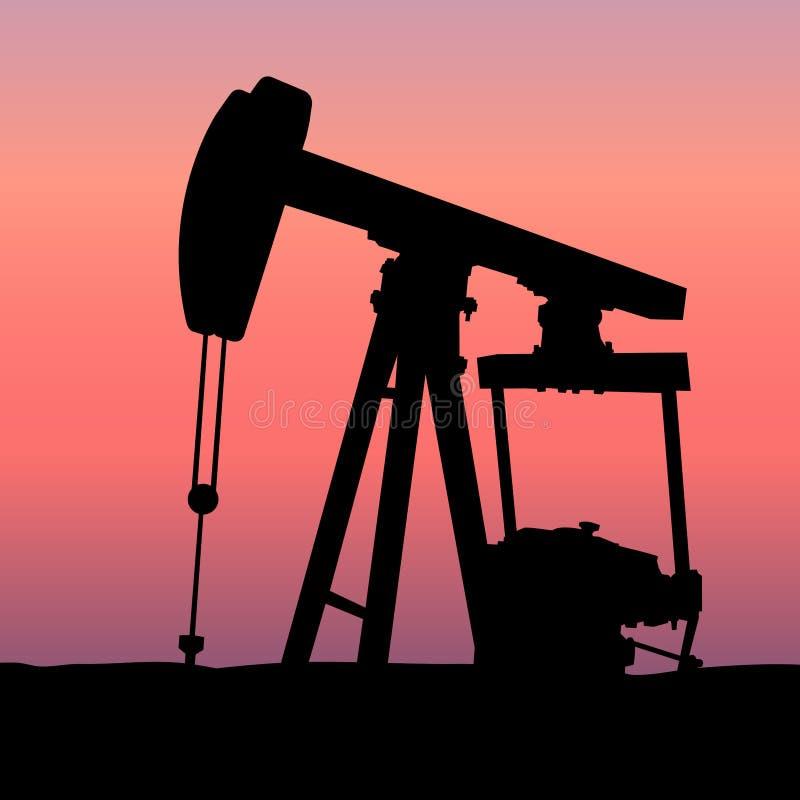 Olio Pumpjack al tramonto illustrazione vettoriale