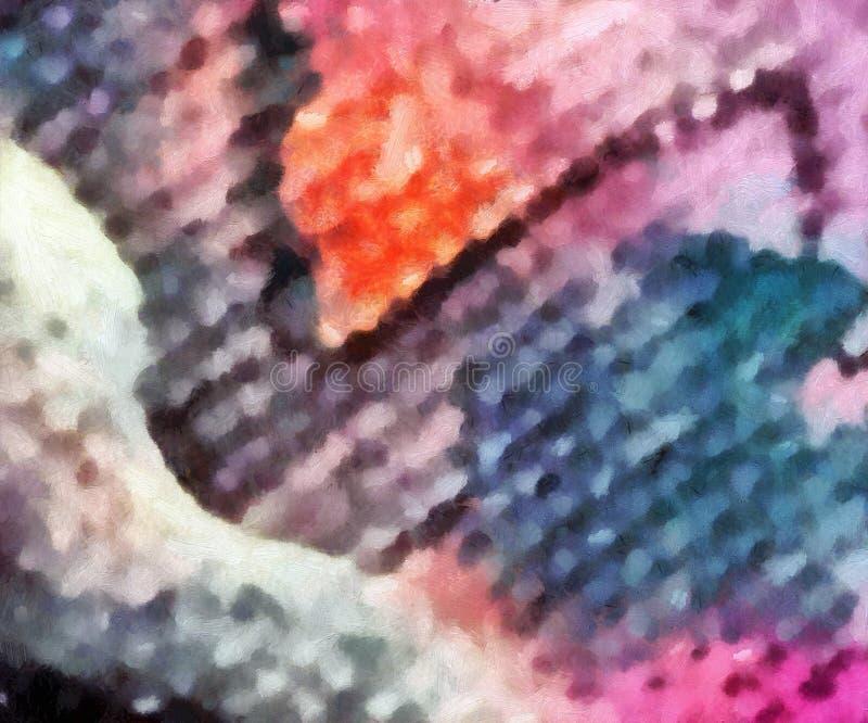 Olio variopinto e fondo dell'acquerello per creare i prodotti unici e decorare le stampe originali Bello modello approssimativo g illustrazione di stock