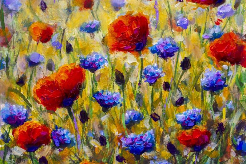 Olio vicino astratto di verniciatura di impasto della pittura della tela variopinta moderna dei fiori selvaggi del fiore illustrazione di stock