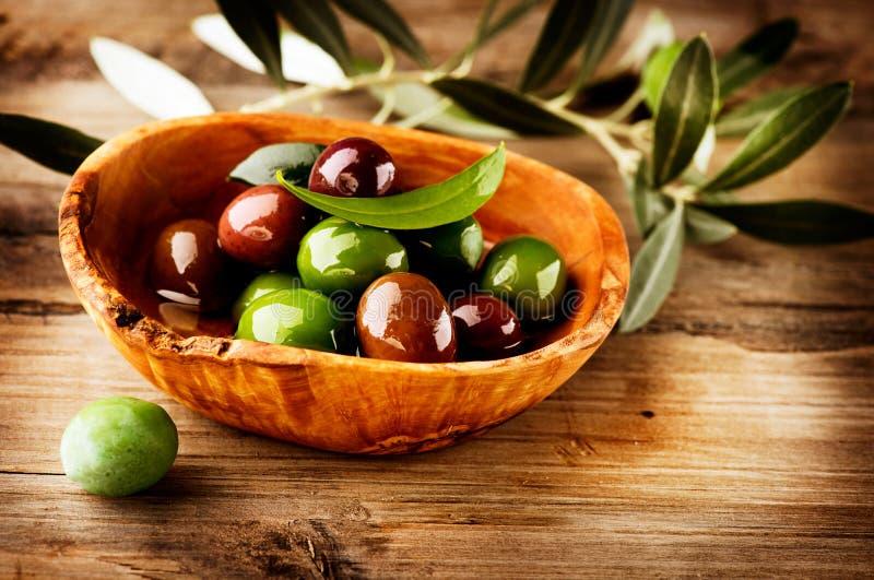 Oliv och olivolja royaltyfri fotografi