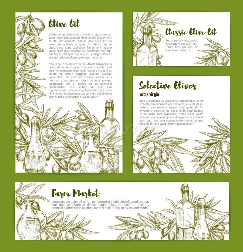 Oliv och olivoljavektorn skissar affischuppsättningen royaltyfri illustrationer
