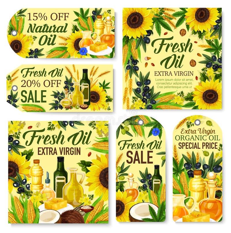 Oliv solros, havre, canola, etiketter för kokosnötolja vektor illustrationer