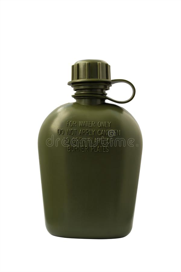 Olive army flask isolated with clipping path stock photos