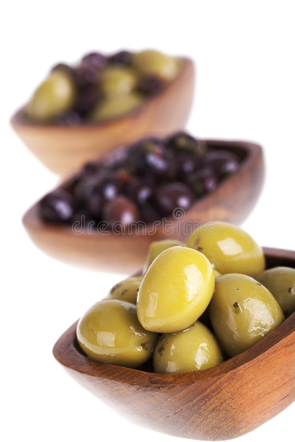 Olive bowls stock photography