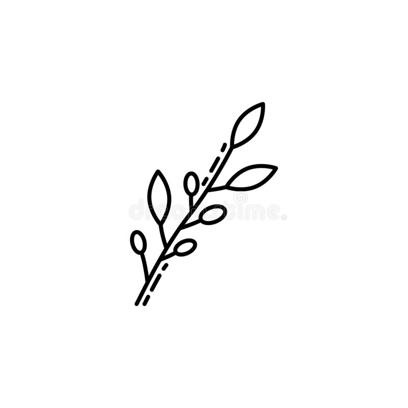 Olive branch icon. Element of Jewish icon for mobile concept and web apps. Thin line Olive branch icon can be used for web and mob vector illustration