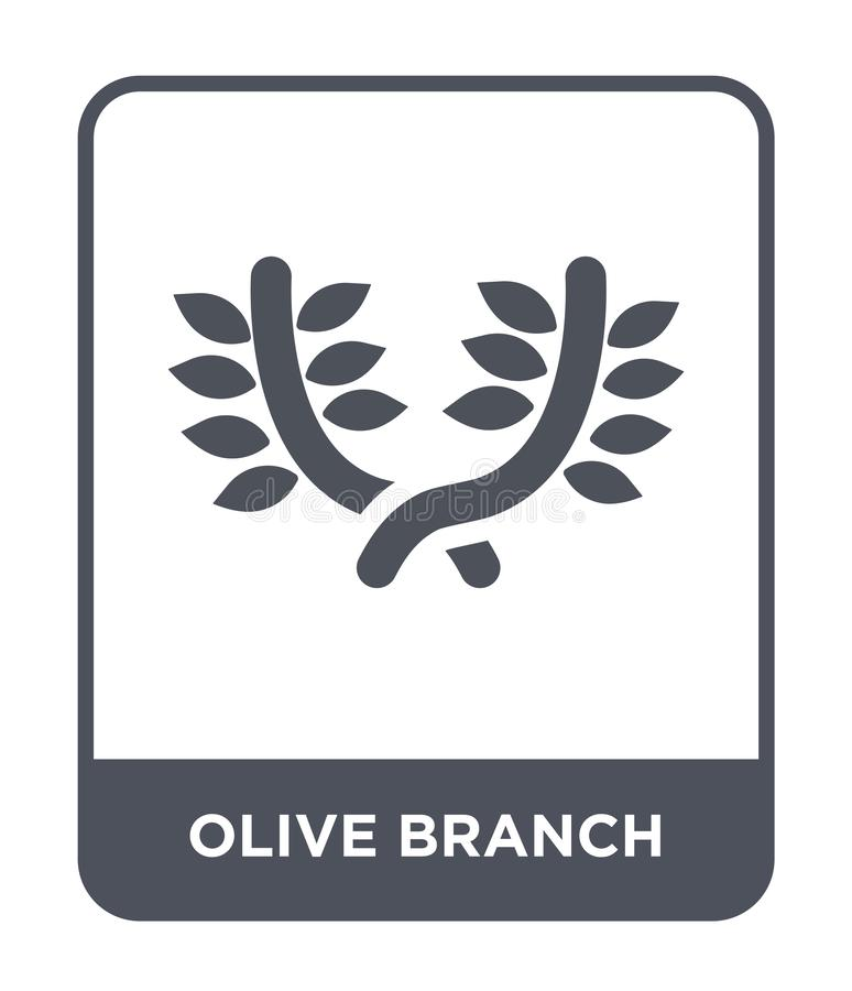 Olive branch icon in trendy design style. olive branch icon isolated on white background. olive branch vector icon simple and. Modern flat symbol for web site stock illustration