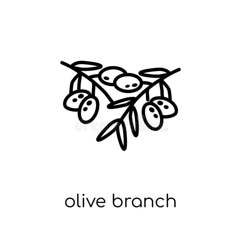Olive Branch icon. Trendy modern flat linear vector Olive Branch royalty free illustration