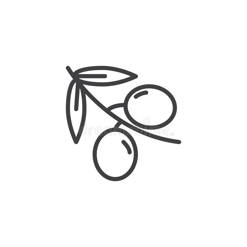 Olive branch line icon. Linear style sign for mobile concept and web design. outline vector icon. Symbol, logo illustration. Vector graphics stock illustration
