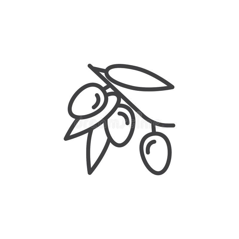 Olive branch with olives fruit line icon stock illustration