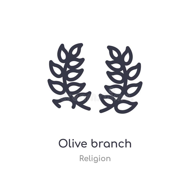 olive branch outline icon. isolated line vector illustration from religion collection. editable thin stroke olive branch icon on vector illustration
